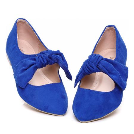 Niebieskie balerinki z kokardką Julianna - Obuwie