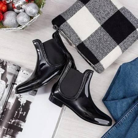 OUTLET Чорні жіночі дощові черевики з мигдалевим носком Idelle - Взуття