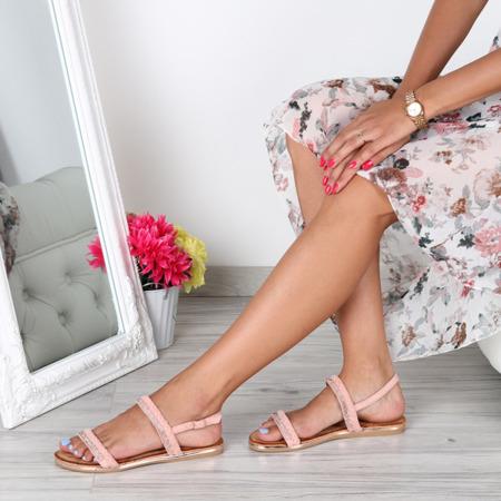 Różowe sandałki z cyrkoniami- Obuwie