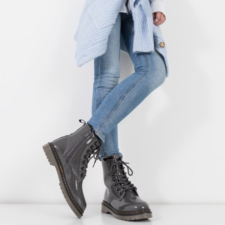 Жіночі темно-сірі лаковані черевики Lesita - Туфлі