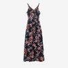 Чорне плаття міді з квітковим принтом - Одяг 1