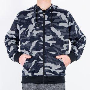 Темно-синій чоловічий світшот в стилі камуфляж - Одяг
