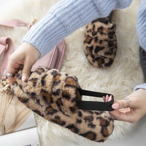 Жіночі хутряні тапочки з леопардовим принтом Fornax - Взуття
